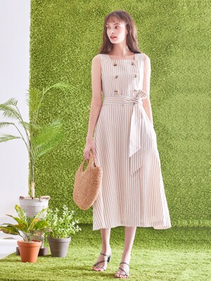 Monica Stripe Dress [Nature Beige]