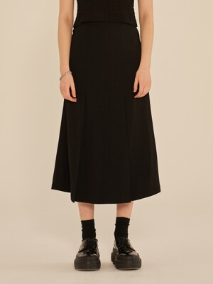 PLEATED MIDI SKIRT (BLACK)