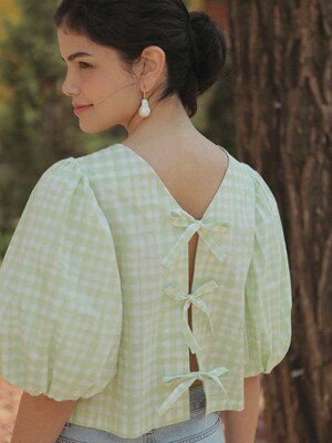 CHECK RIBBON BACK BLOUSE MERONA