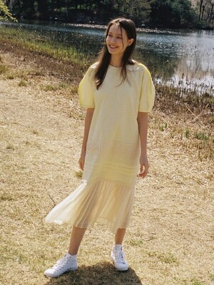 [EXCLUSIVE] Muse pleats dress - Light yellow