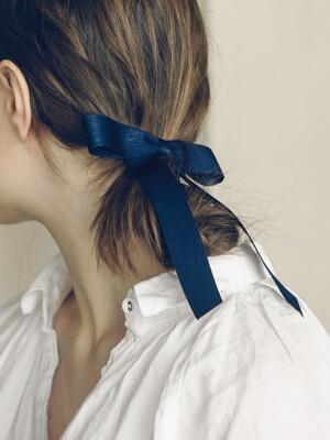 romantic ribbon hair pin (NAVY)