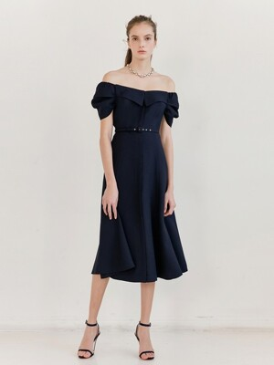 NATALIE Off shoulder puff shirring sleeve collar detail flared dress (Navy)