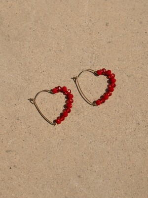 Red heart hoop earring