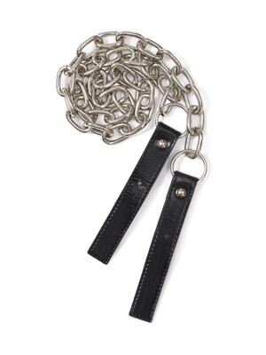Wrinkle Leather Buckle Chain Strap in Black_VX0AX0700