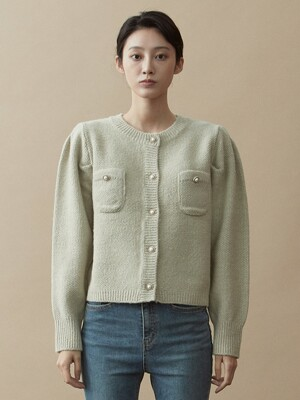 V.wool pearl button knit (gray beige)