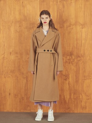 BELTED WOOL COAT - CAMEL/BLACK