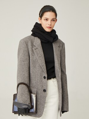 YEOUIDO Relaxed fit blazer (Gray herringbone)