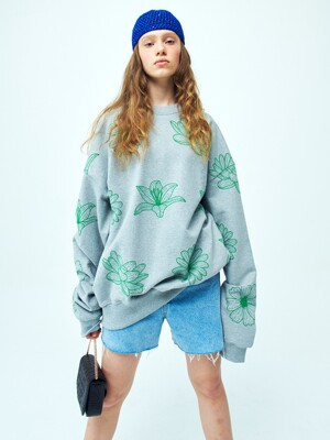 OVERSIZED SWEATSHIRT ALLFLOWERS GREY