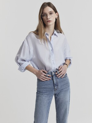 SILKY SHIRT BLOUSE SOFT BLUE_UDBL1E201B1