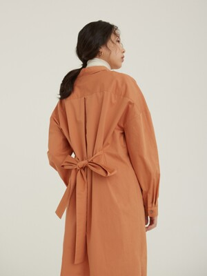 belted v shirt dress _ peach orange