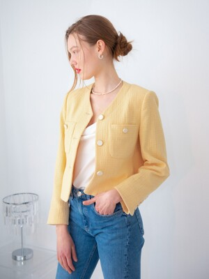POCKET POINT V-NECK TWEED JACKET_YELLOW