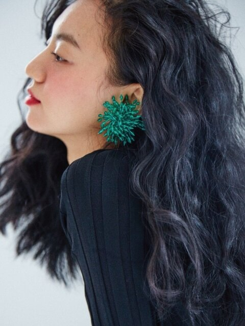 green firecracker earring