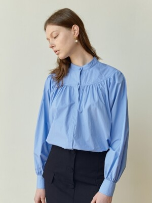 18FW STAND-COLLAR GATHERED-YORK SHIRT (SKYBLUE)