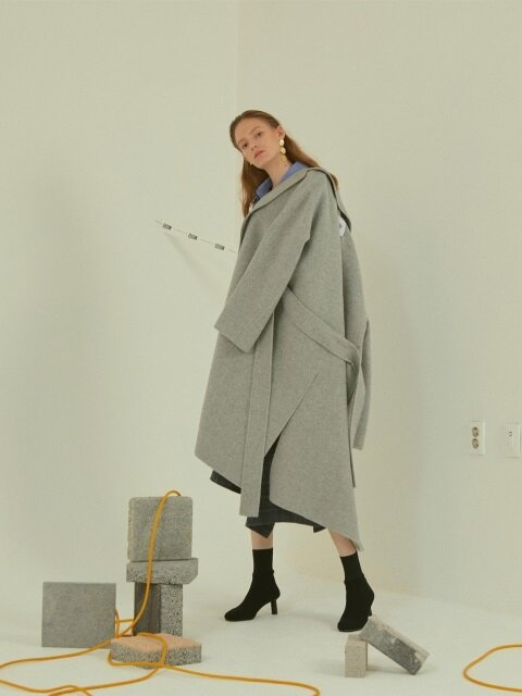 Manet cashmere blended wool coat  _ Soft gray