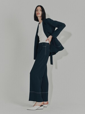 [Drama Signature]  Shawl Collar Blazer + Wide-leg Trousers SET