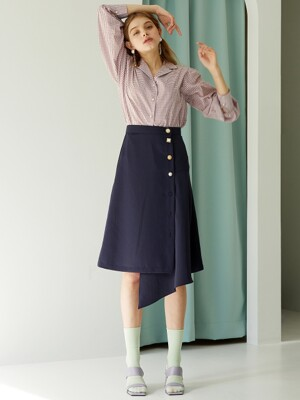 unbalance button p wrap skirt