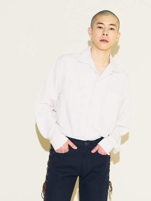 W Relax Open Collar Shirts Off White