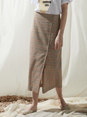 Summer slit skirt - Brown check