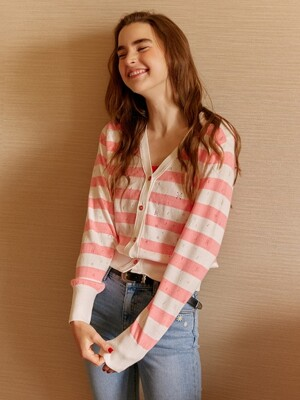 Pastel Stripe Knit Cardigan in Pink_VK9MD0310