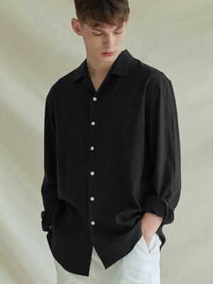 LOOSE-FIT OPEN COLLAR LINEN SHIRTS_BLACK
