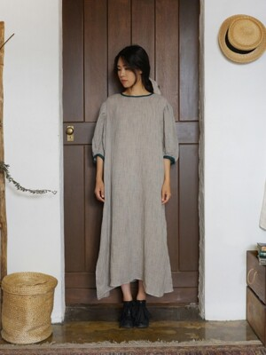 린넨 핀스트라이프 드레스 : Linen pin stripe dress - bluish green