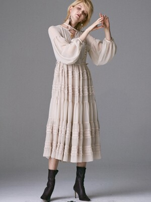 SMOKING POINT ALL SHIRRING DRESS_BEIGE