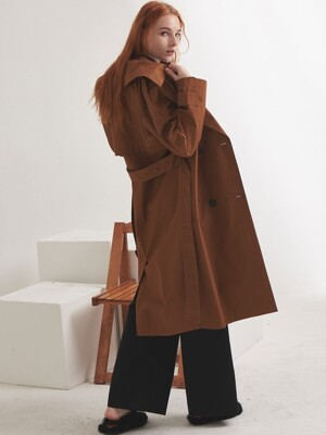 COTTON OVERSIZE TRENCH COAT_BROWN