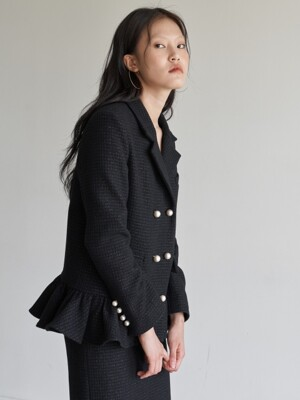 SIGNATURE PEPLUM JACKET _ BLACK TWEED