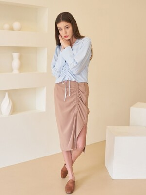 SHIRRING MIDI SKIRT BEIGE
