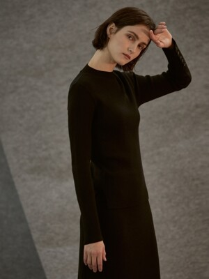 wool button knit_black