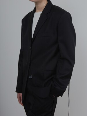 BELTED SINGLE JACKET_BLACK