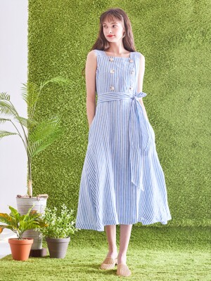 Monica Stripe Dress [Pure Blue]