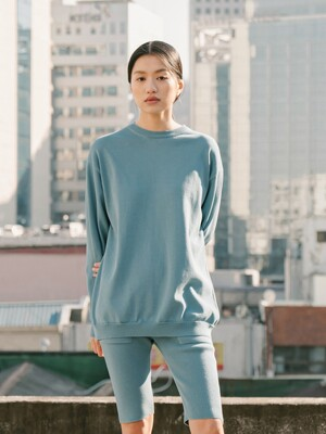 [flat] LIGHT BLUE ORGANIC COTTON KNIT MANTOMAN