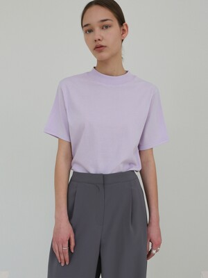 HALF-NECK COTTON TOP - VIOLET