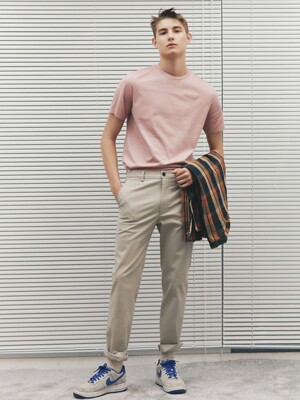Straight-fit Stretch Cotton-Twill Washed Chinos_3color
