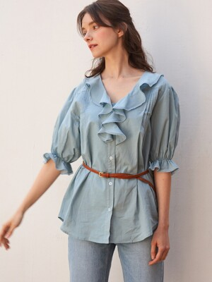 monts 1110 ruffle pin-tuck blouse (sky blue)
