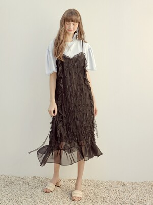 [단독]Slip Pleats Ruffle Dress, Black