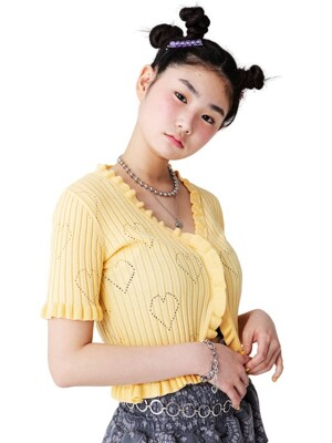 HEART PATTERN WAVY CARDIGAN [YELLOW]