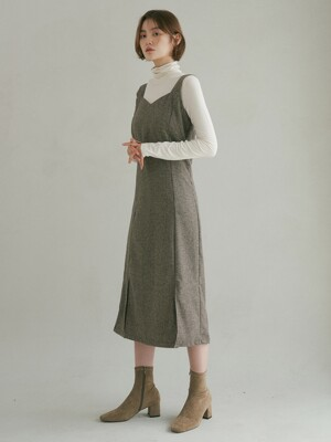 DIVIDEDNESS JUMPER SKIRT CHECK BROWN