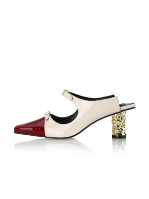 Louis Mary-Jane Heel Mules / 21RS-S460 / Red Ck+Cream Ck+Gold