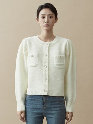 V.wool pearl button knit (ivory)