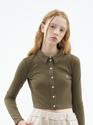 S2 CROP COLLAR CARDIGAN [KHAKI]