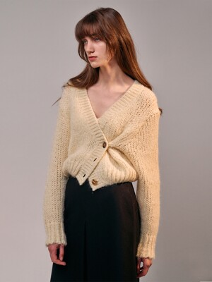 Alpaca-Blend Volume Knit Cardigan (CREAM)