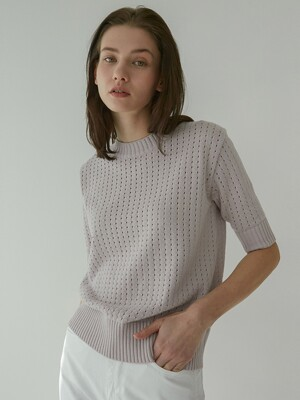 [Woman] Textured Short Sleeve Sweater (Lilac)
