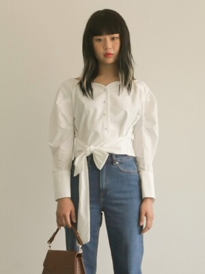 SHIRRING RIBBON BLOUSE_WHITE
