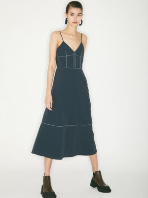 STITCH SLIP DRESS_DEEP GREEN