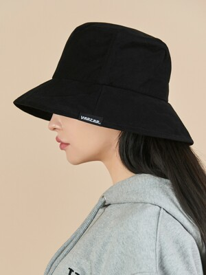 Wide brim washing bucket hat black