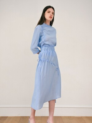 shirring long skirt - blue