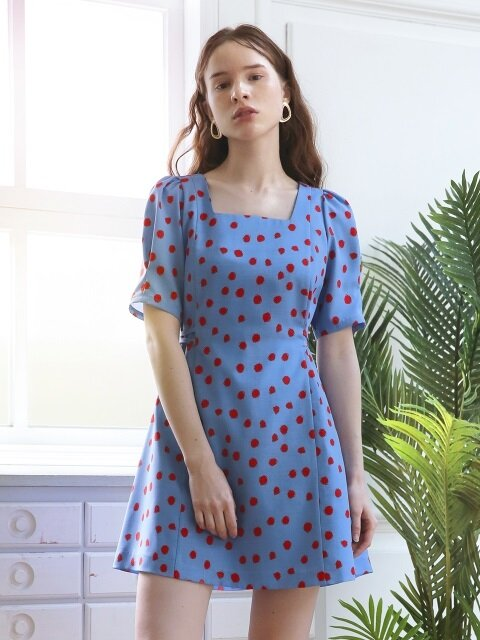Dot Puff Shoulder Dress_Blue