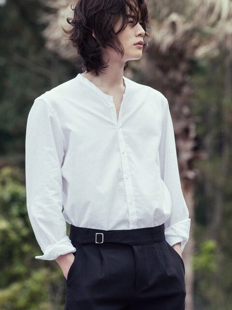 Slim-fit henley neck linen shirts - White